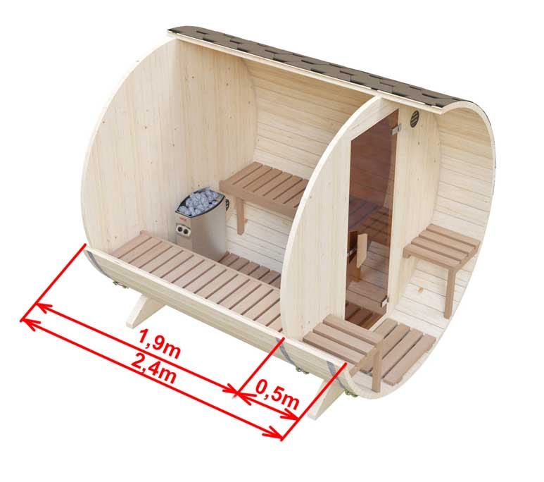 Dimensions of sauna with seats