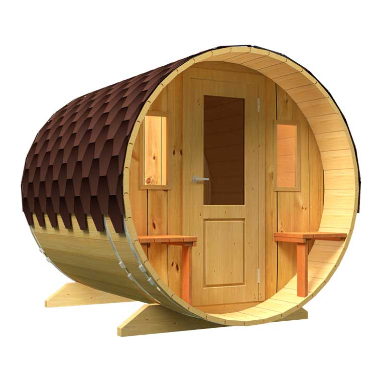 Sale of saunas in Spain, Denia. Sauna with seats with a wooden door