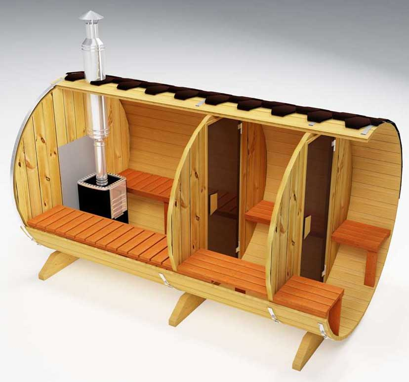 Sauna with wood burning stove