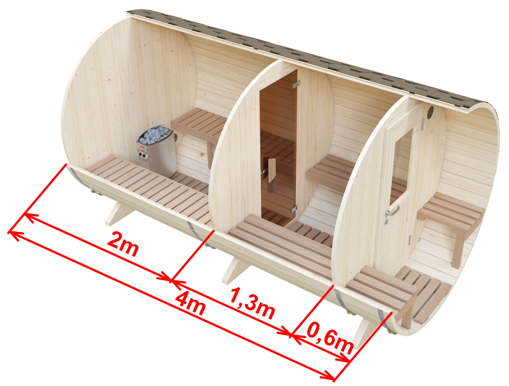 Dimensions of the sauna with cloakroom and outdoor seats