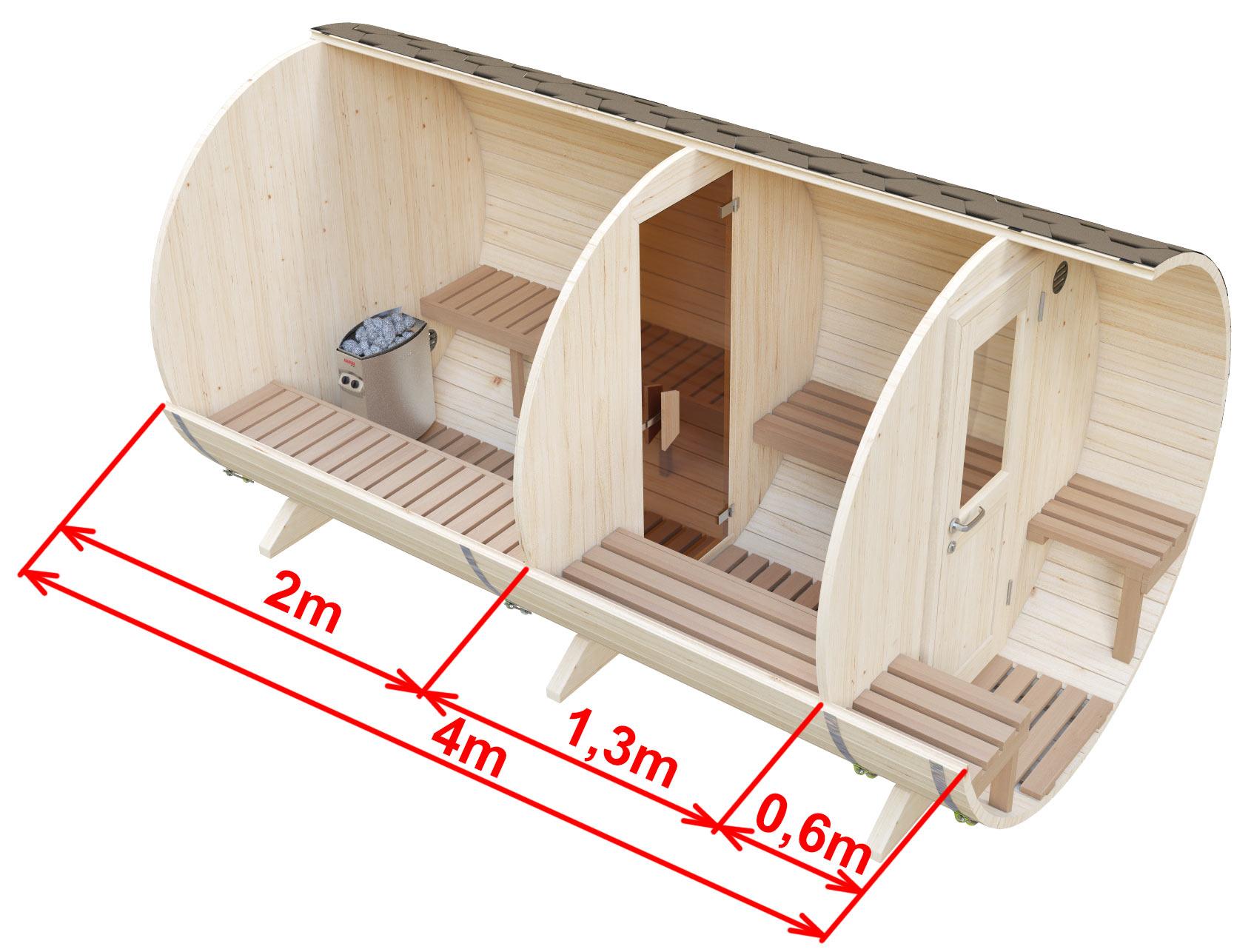 Размеры сауны с раздевалкой и наружными сиденьями