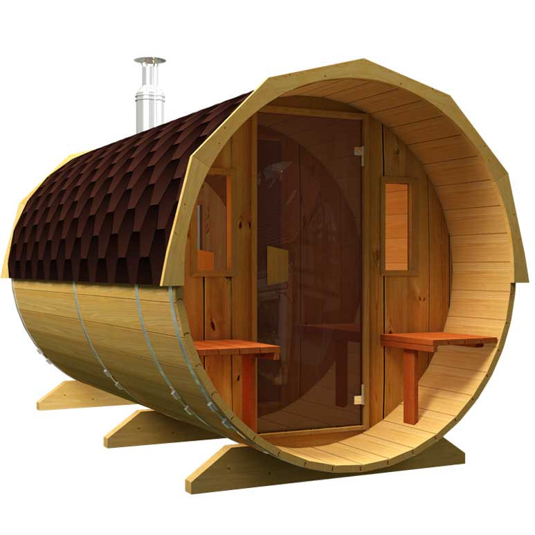 Sale of saunas in Spain, Denia. Sauna with a glass door and windows.