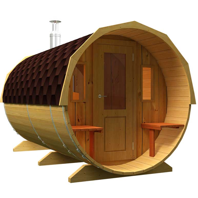 Sale of saunas in Spain, Denia. Sauna with a wooden door and windows.