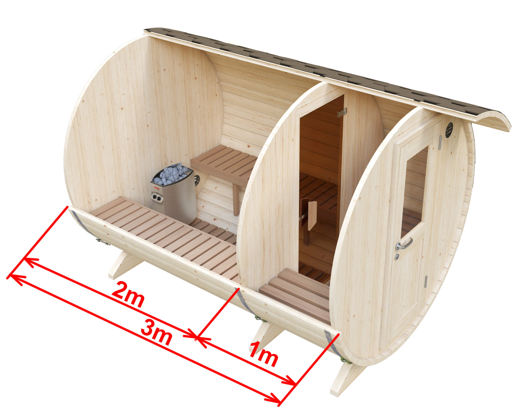 Dimensions sauna with dressing room