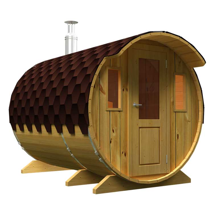 Sale of saunas in Spain, Denia. Sauna with a dressing room with wooden door.